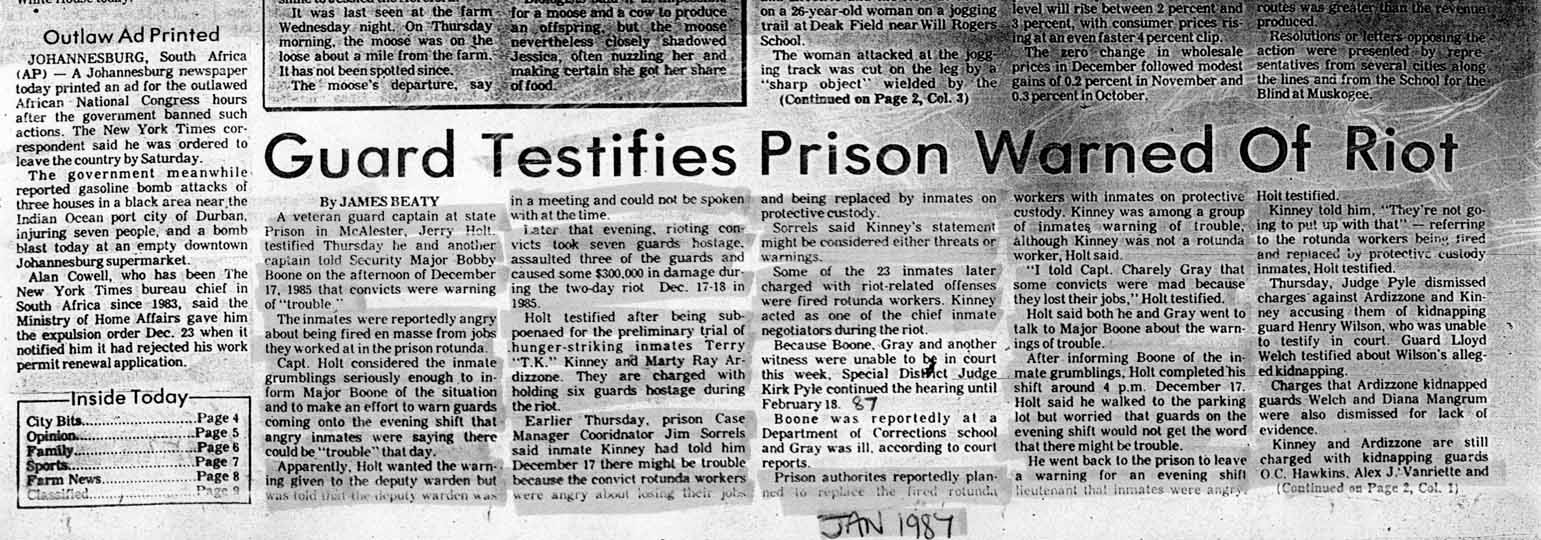 Guard Testifies Prison Warned of Riot January 1987